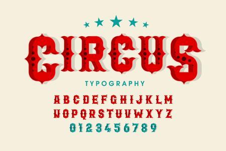 Illustration pour Retro style circus font, alphabet letters and numbers - image libre de droit