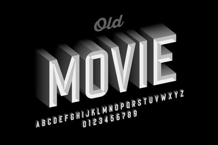 Illustration pour Old movie style vintage font design, retro style alphabet letters and numbers - image libre de droit