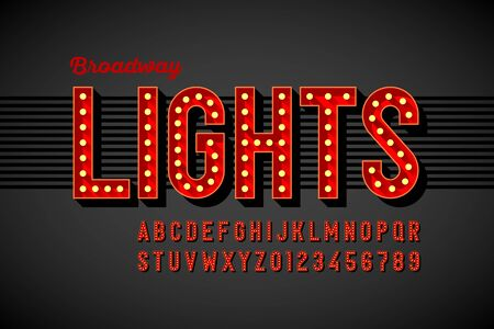 Illustration pour Broadway lights retro style font with light bulbs, vintage alphabet letters and numbers - image libre de droit