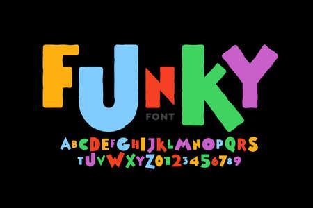 Illustration pour Playful style font design, childish alphabet letters and numbers vector illustration - image libre de droit