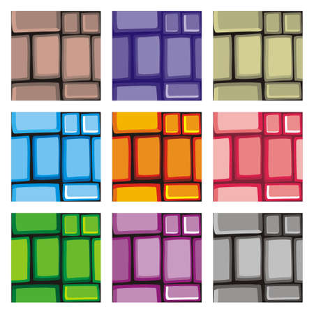 Illustration pour Tile set Platform for Game - A set of vector game asset, contains ground tiles  and several items / objects / decorations, used for creating mobile games - image libre de droit