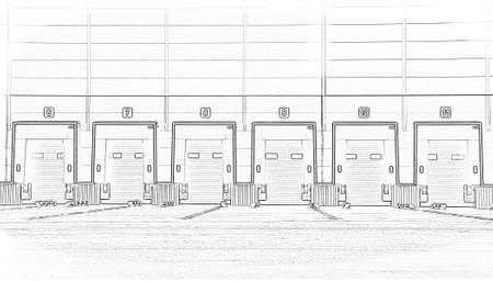 Foto de Large distribution warehouse with gates for loading goods. Sketch, project - Imagen libre de derechos