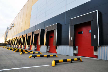 Photo for Loading docks of a modern logistics complex, front view. - Royalty Free Image