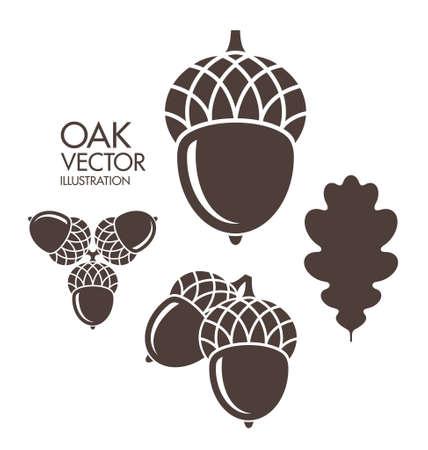 Illustration pour Oak. Acorn. Leaf - image libre de droit