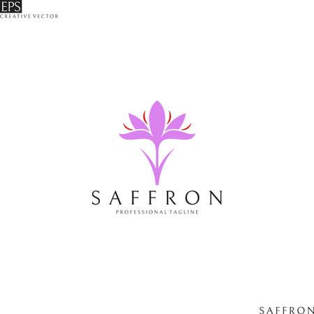 Illustration pour Saffron logo. Purple flower - image libre de droit