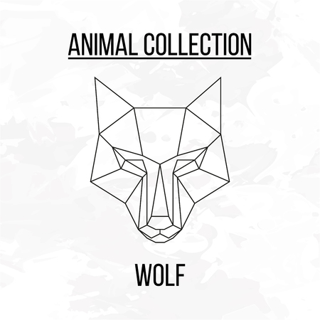 Illustration pour Geometric animal wolf head background - image libre de droit