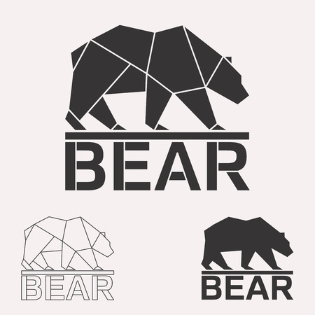 Illustration pour Brown bear. Grizzly bear. Arctic bear geometric lines silhouette isolated on white background vintage vector design element illustration set - image libre de droit