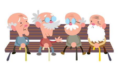 Elderly people on a bench