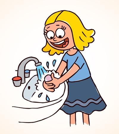 Illustration pour little girl washing hands - image libre de droit