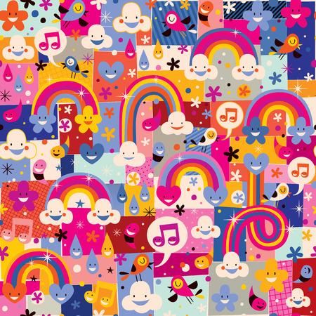 Illustration pour clouds, birds, rainbows and hearts pattern - image libre de droit