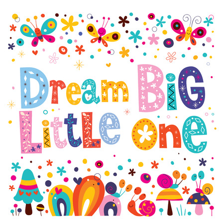 Illustration for Dream big little one - kids nursery art with cute characters - Royalty Free Image