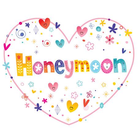 Illustration pour Honeymoon unique decorative lettering heart shaped love design - image libre de droit