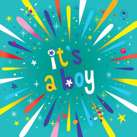 Illustration pour it's a boy - burst explosion celebration announcement - image libre de droit