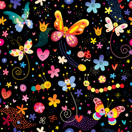Illustration for butterflies flowers nature seamless pattern - Royalty Free Image