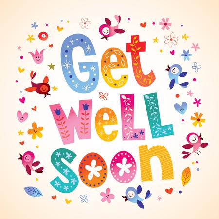 Illustration pour Get well soon card - image libre de droit