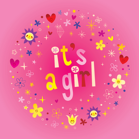 Illustration for its a girl card. - Royalty Free Image