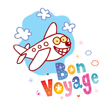 Illustration for Bon Voyage - have a nice trip in French - cute airplane character mascot travel tourism illustration - Royalty Free Image