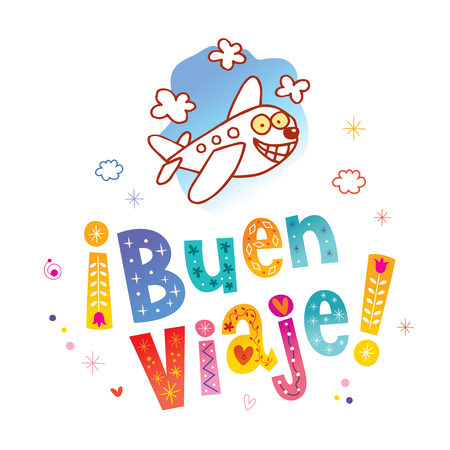Illustration for Buen viaje - Have a nice trip in Spanish - Royalty Free Image