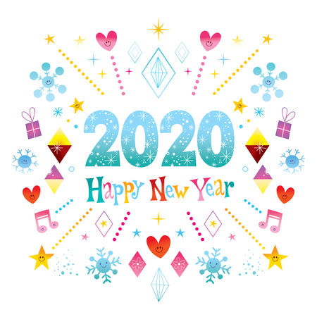 Illustration pour Happy New Year 2020 greeting card - image libre de droit