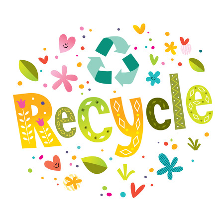 Illustration for recycle symbol with lettering - Royalty Free Image