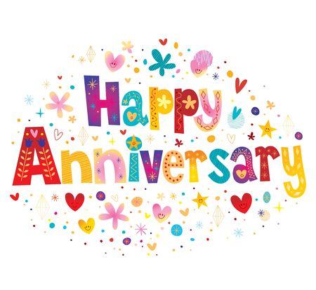 Ilustración de Happy Anniversary greeting card with decorative lettering text design - Imagen libre de derechos