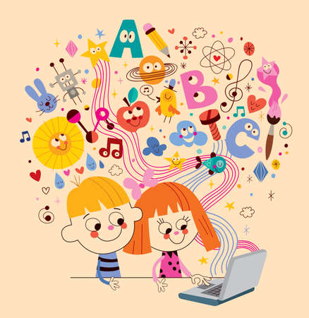 Illustration for Little boy and girl learning online - Royalty Free Image