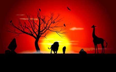 Illustration pour sunset in safari - image libre de droit