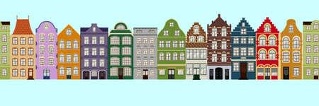 Ilustración de Seamless Border of Cute retro houses exterior. Collection of European building facades. Traditional architecture of Belgium and Netherlands - Imagen libre de derechos