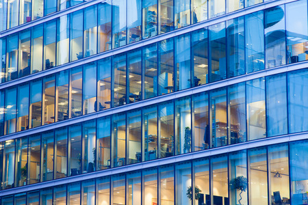 Photo for Windows of Skyscraper Business Office, Corporate building in London City, England, UK - Royalty Free Image