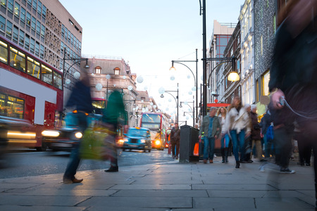 Blur movement of city people worker, shopping in London, England, UK