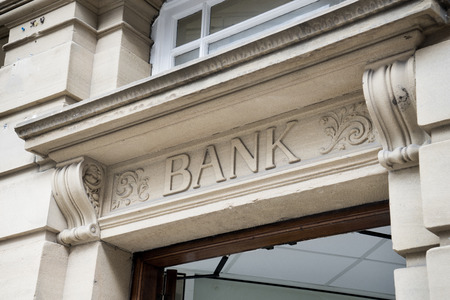 Bank Sign , Stone Background