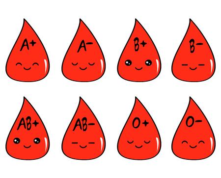 Illustration pour cute cartoon blood type set vector illustration - image libre de droit