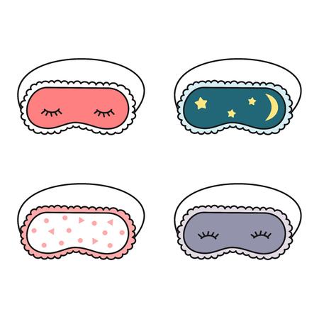 Ilustración de cute cartoon slepping mask set vector illustration - Imagen libre de derechos