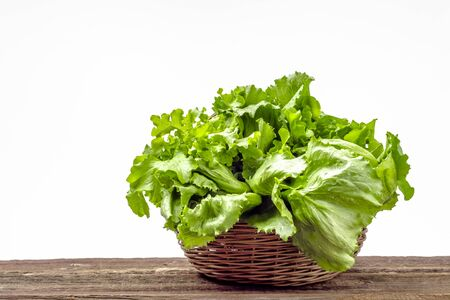 Foto per Farm fresh vegetables. Organic, fresh green lettuce on white background. Lettuce leaves on wooden table. - Immagine Royalty Free