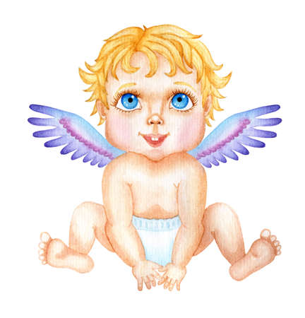 Illustration pour Cute watercolor baby Cupid. Valentine's Day illustration of a little angel with big blue eyes and golden hair. Isolated on white background. Drawn by hand. - image libre de droit