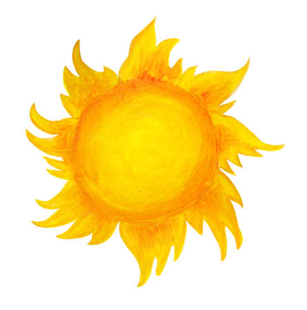 Illustration pour Sun cartoon watercolor. Children's illustration of the sun drawn by hand. isolated on a white background. Sunrise sunset. - image libre de droit