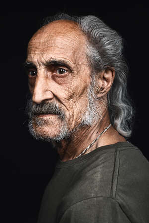 Photo pour profile of senior man with gray hair and bold with serious expression. close up side view portrait.philosopy of life. senility concept. decline - image libre de droit