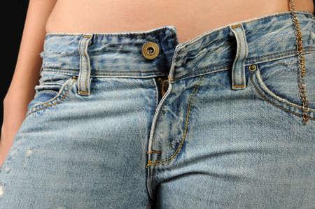 Photo pour Female in Denim Unbuttoned - image libre de droit