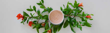 Top view of botanical face powder with blossom pomegranate branch. Herbal cosmetics
