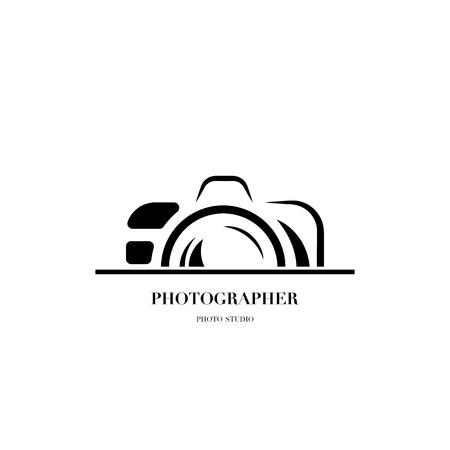 Illustration for Abstract camera logo vector design template for professional photographer or photo studio - Royalty Free Image