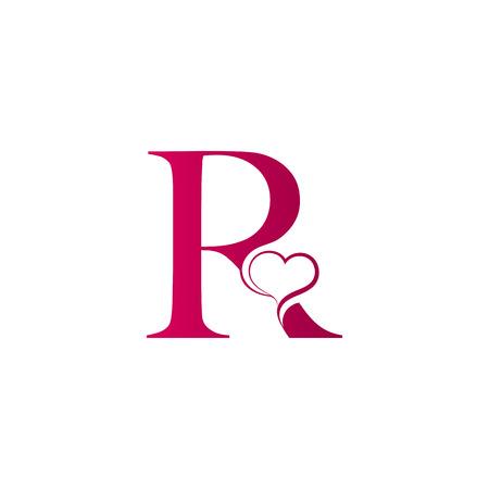 Illustration pour R letter logo with heart icon, valentines day concept - image libre de droit