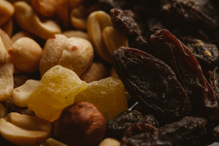dried fruits close-up on a dark background close up.