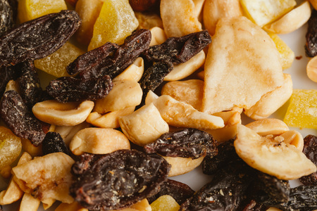 dried fruits close-up on a light background.