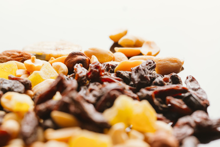 dried fruits close up on blurred background.