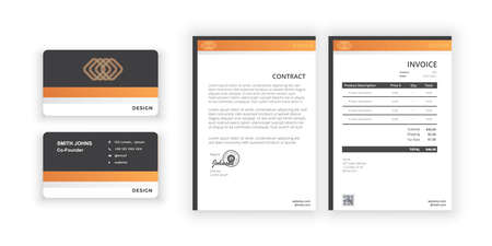 Ilustración de Business card and blank. Simple colorful design. Vector illustration. Modern minimalist template. Document design template for office, company. - Imagen libre de derechos