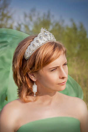 Photo for Portrait of a girl in a snow-white crown. Creative photo retouching with a girl in a crown. - Royalty Free Image