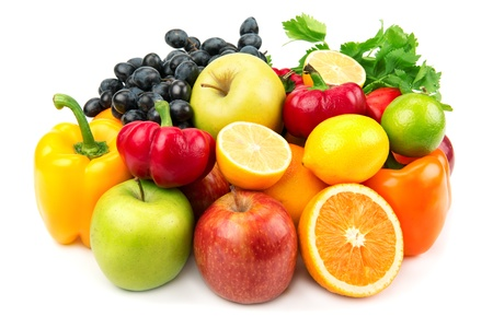 useful set of fruits and vegetablesの写真素材