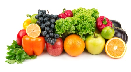 set of different fruits and vegetables isolated on white background