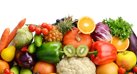 fruits and vegetables isolated on white backgroundの写真素材