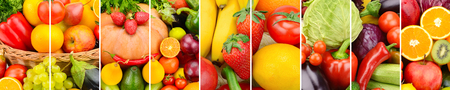 Foto de Panoramic collection fresh fruits and vegetables background. Collage. Wide photo . - Imagen libre de derechos